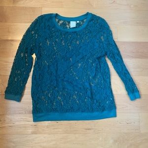 Anthropologie teal lacy top